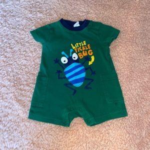 EUC Baby Boy 2 Rompers 1 T-shirt 1 Bib Over All's